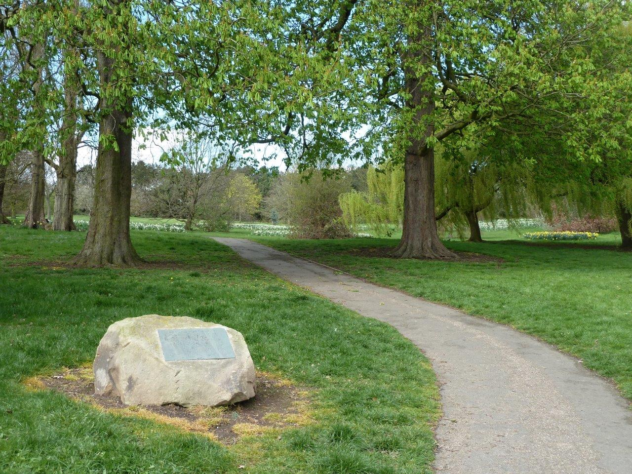 Clemsons Park - entrance from Austen Ave with dedication stone