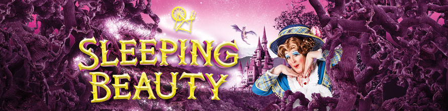 Sleeping Beauty banner with pink thorns and Dame popping out from behind