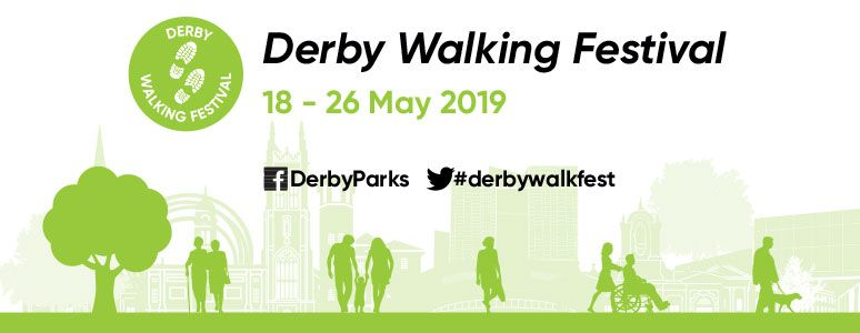 Green and white illustrated image of trees and walkers with Derby Walking Festival written above