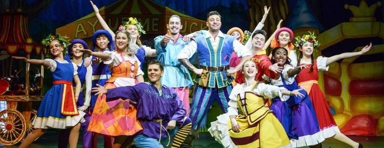 Duncan James and the ensemble for Jack and the Beanstalk pose on stage