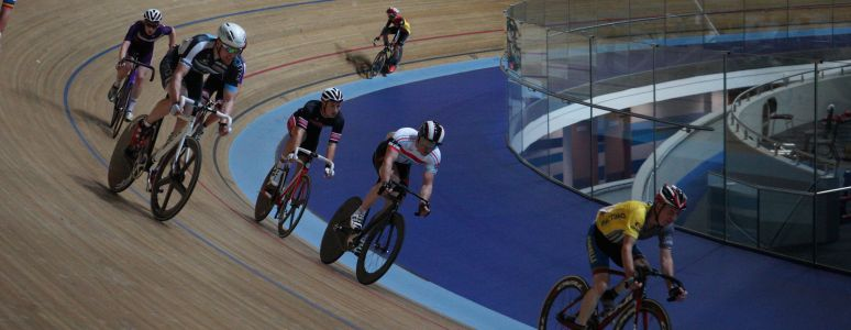 Cyclists on Derby Arena track