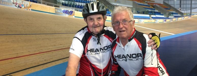 Derek and Don photographed smiling on the Derby Arena track