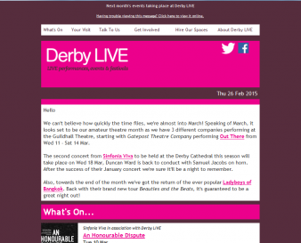 Derby LIVE e-newsletter